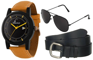 Stylish Round  Dial Graphic Watch With  Belt And Aviator Glasses