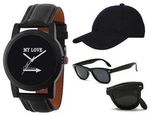 Black Dial Strap Boy's Analog Watch With Black Cap And Foldable Sunglass