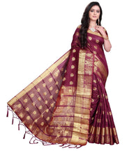 Load image into Gallery viewer, Purple Self Pattern Banarasi Silk Saree With Blouse Piece