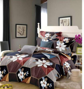 Multicoloured Cotton  Double 1 Bedsheet + 2 Pillowcovers