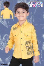 Load image into Gallery viewer, Forever Young Yellow Cotton Printed Stylish Casual Shirts for Boy's