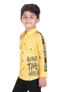 Forever Young Yellow Cotton Printed Stylish Casual Shirts for Boy's