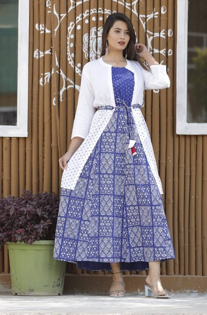 Women's Blue and White Printed Rayon Kurti