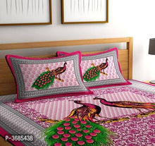 Load image into Gallery viewer, Pure Cotton Made Abstract Design Printed Double bedsheet With Two MatchinG Pillow Covers
