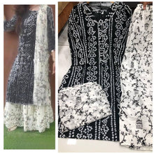 Load image into Gallery viewer, Elite Black Rayon Cotton Printed Women Kurta Skirt Set with Dupatta