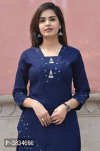 Load image into Gallery viewer, Elegant Blue Embroidered Rayon  Kurti Palazzo Set For Women