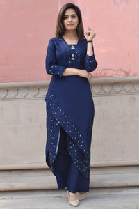 Elegant Blue Embroidered Rayon  Kurti Palazzo Set For Women