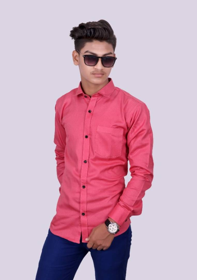 Men's Pink Cotton Solid Long Sleeve Slim Fit Formal Shirt