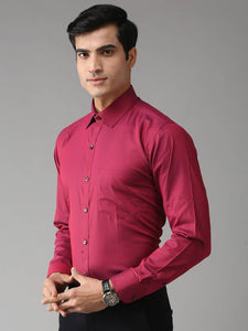 Men's Red Solid Cotton Slim Fit Formal Shirt