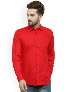 Cotton Red Long Sleeve Plain Formal Shirt