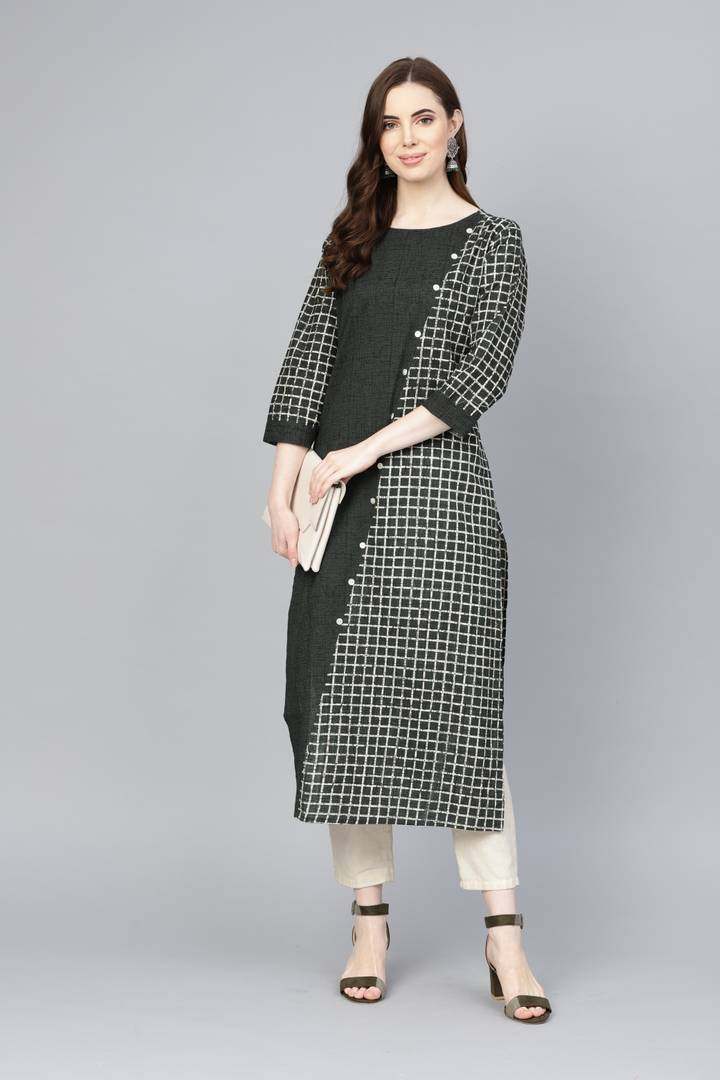 Fashionable Green Cotton Printed Kurta For Women