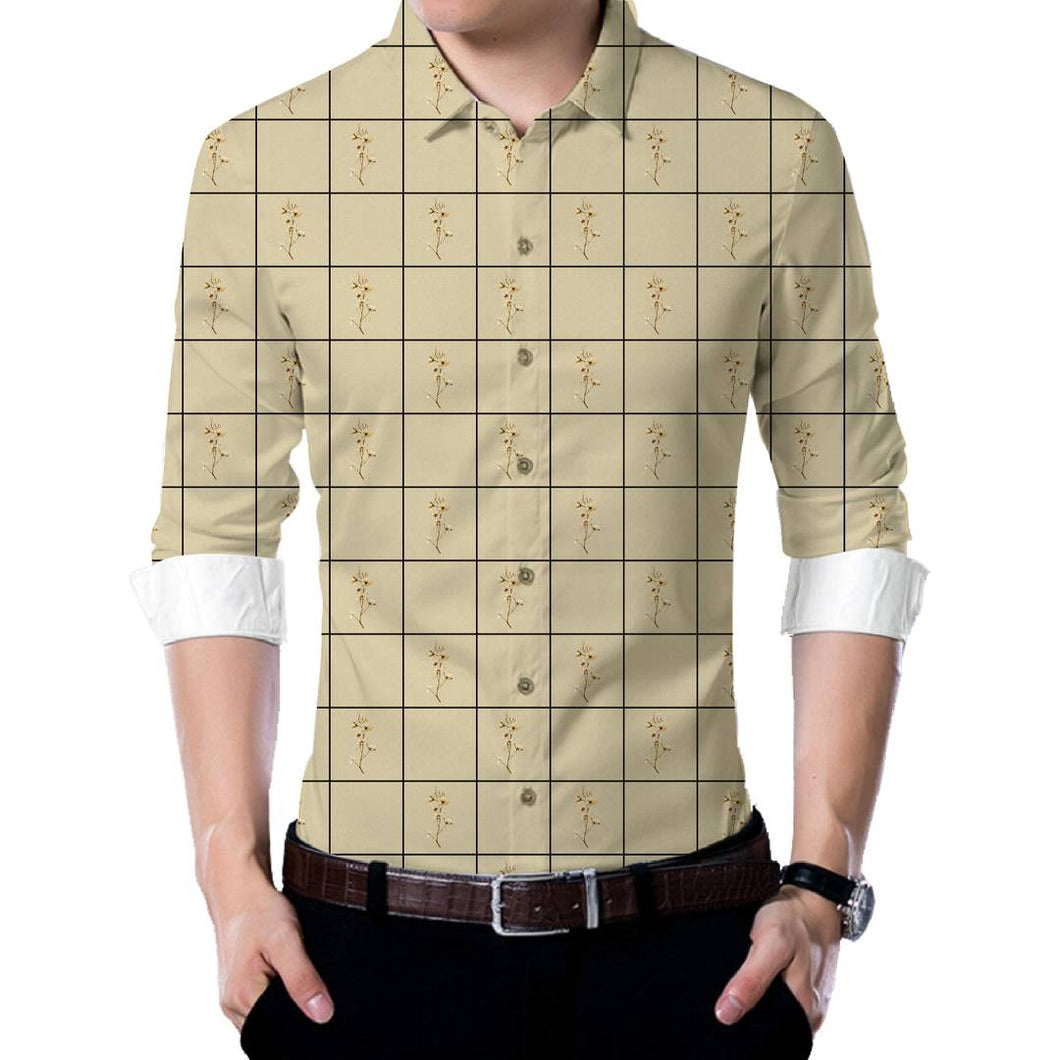 Men's Beige Polyester Blend Unstitched Shirt Piece