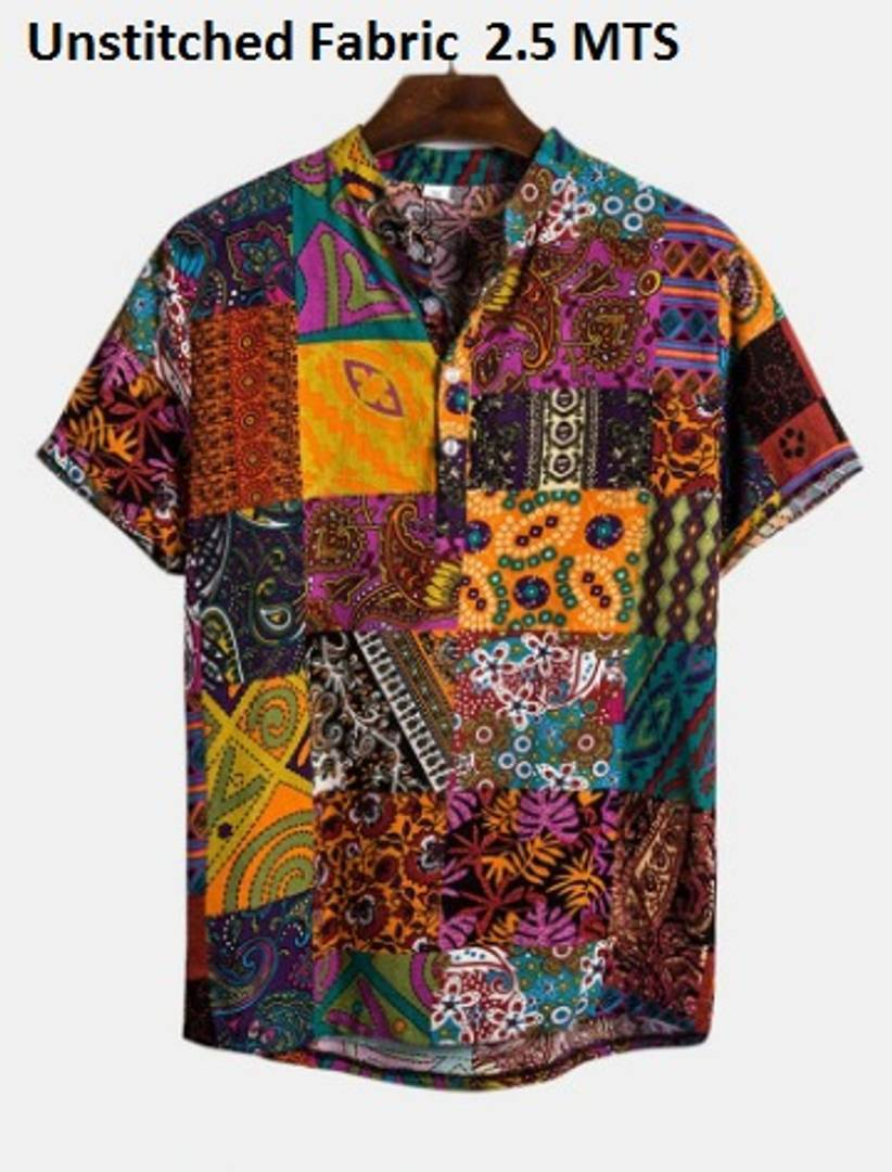 Trendy Poly Cotton Printed Un-Stitched Shirt Fabric