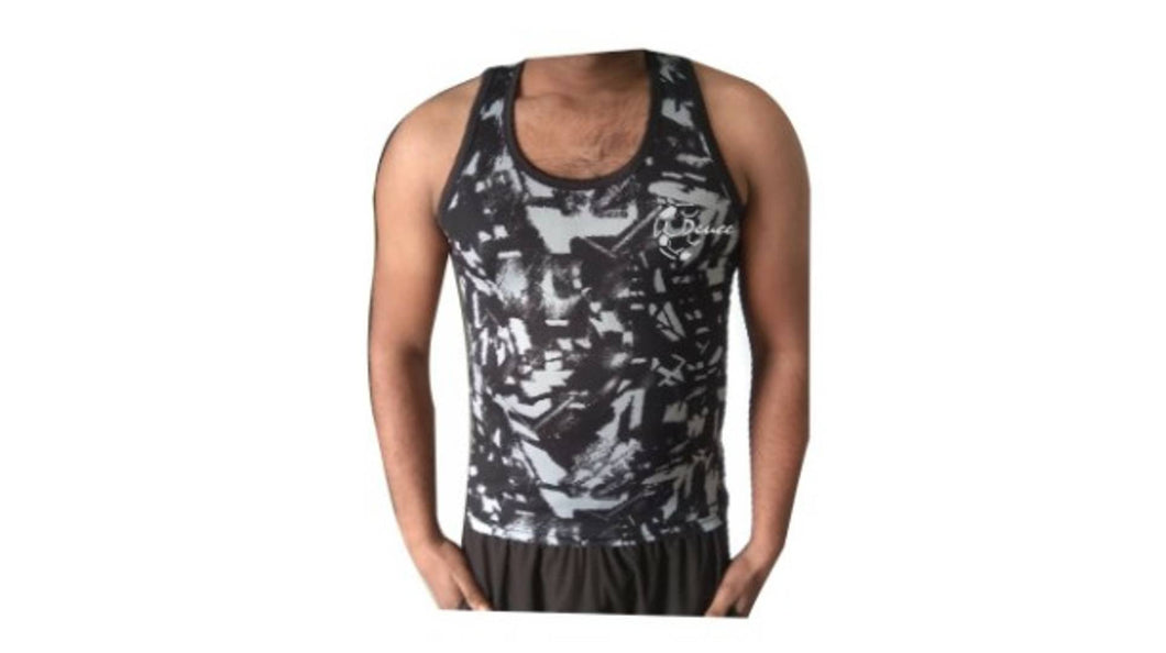 Men's Black Printed Polyester Sports T-Shirt