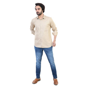 Beige Solid Long Sleeves Casual Shirt