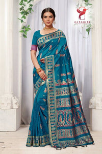 Stylish Bhagalpuri Silk Jacquard Saree With Blouse Piece