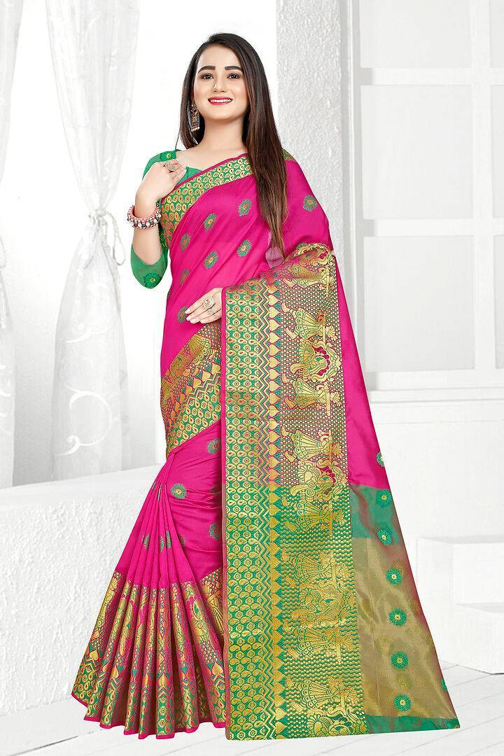 Self Design Banarasi Jacquard Border Cotton Blend Saree With Blouse Piece
