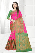 Load image into Gallery viewer, Self Design Banarasi Jacquard Border Cotton Blend Saree With Blouse Piece