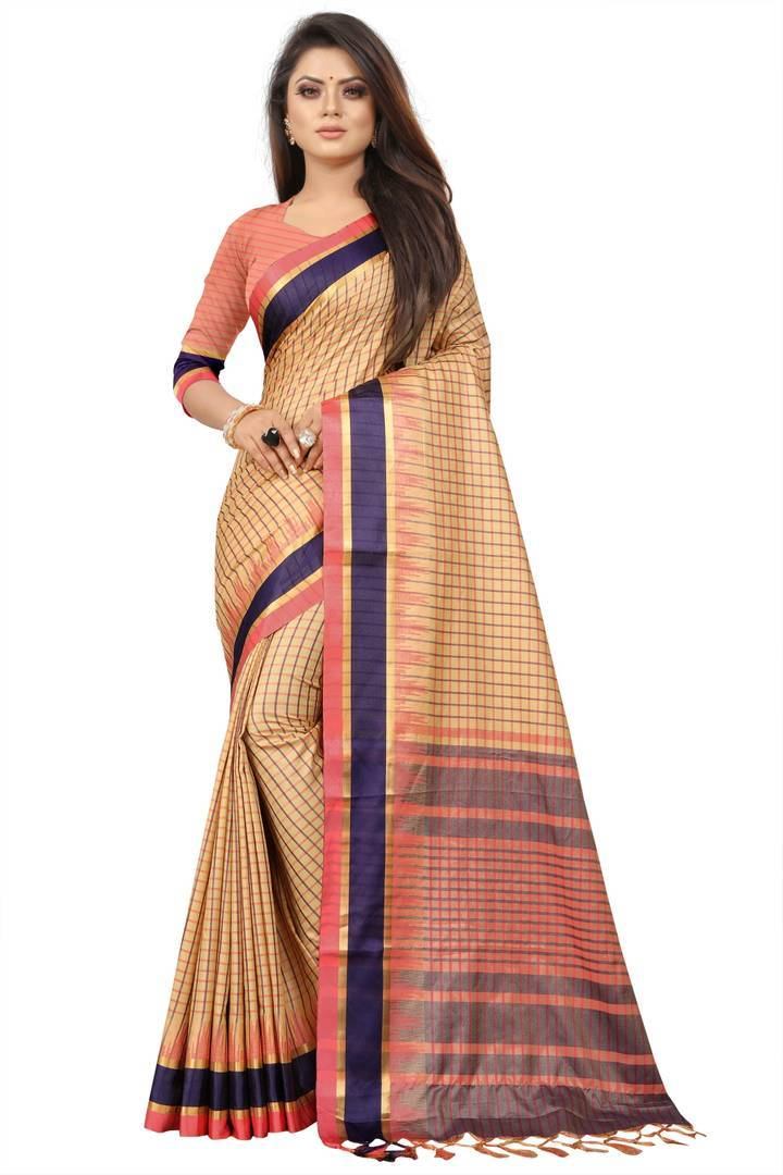 Women's Pure Silk Checks pattern Saree With Blouse Piece