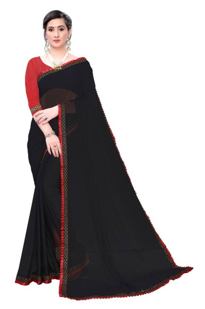 Women's Beautiful Lycra Lace Border Saree With Blouse