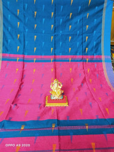 Stylish Handloom Cotton Woven Design Saree with Running Blouse Piece