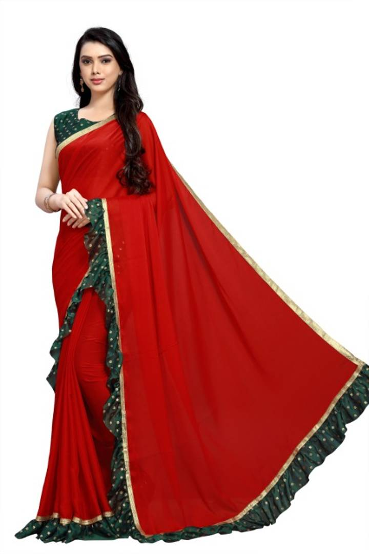 Stylish Silk Rangoli Printed Ruffle Saree With Blouse Piece