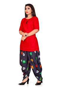 Women's Printed Straight Red Rayon Kurta Bottom Set