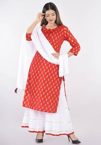 Women's Rayon Printed Kurta With Sharara And Dupatta Set