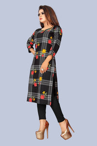 Black Printed Crepe Straight Kurta