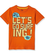 Load image into Gallery viewer, Stylish Hosiery Cotton Orange Printed Round Neck T-shirt For Boys