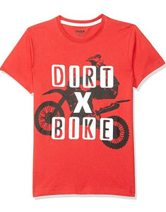 Stylish Hosiery Cotton Red Printed Round Neck T-shirt For Boys
