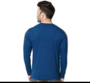 Men's Blue Cotton Blend Self Pattern Round Neck Tees