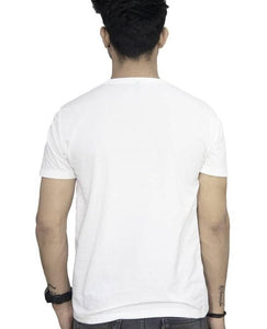 White Cotton Printed Round Neck T-Shirt