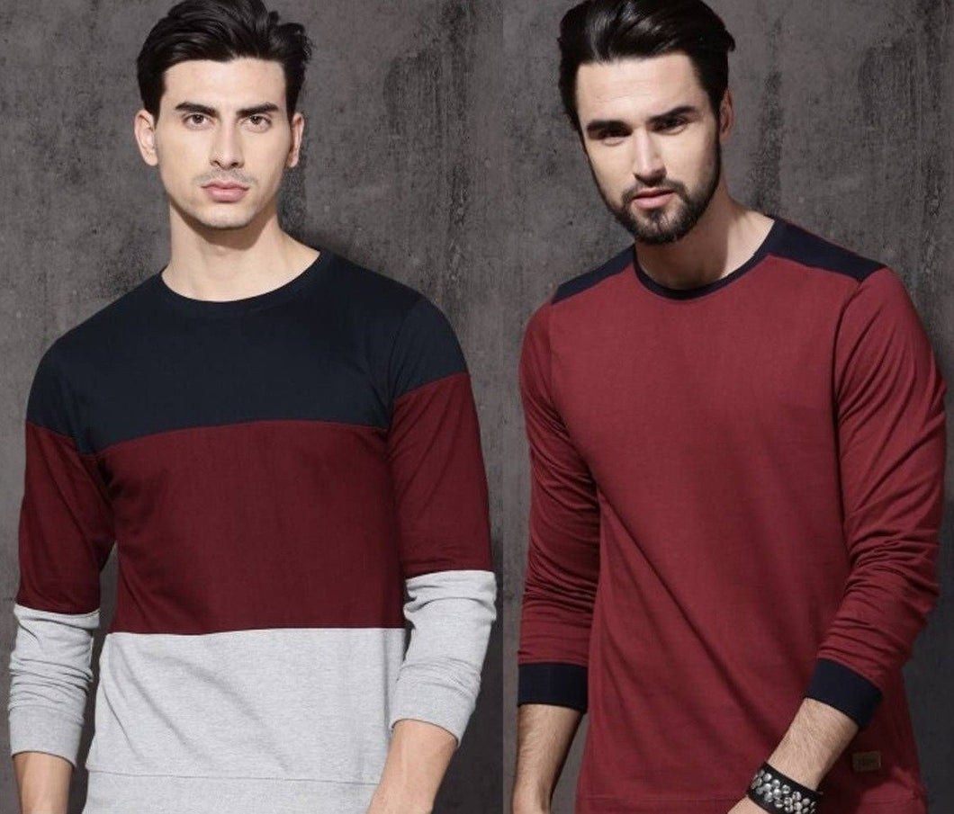 Pack Of 2 Trendy Cotton Round Neck T Shirt