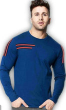 Load image into Gallery viewer, Men's Blue Cotton Blend Self Pattern Round Neck Tees