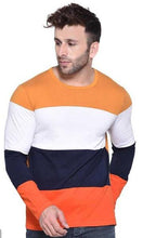 Load image into Gallery viewer, Men's Multicoloured Cotton Blend Colourblocked Round Neck Tees