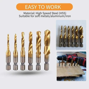 6Pcs Hex Shank Thread Tap Drill Bits