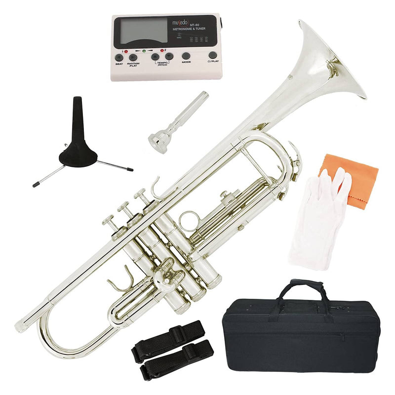 LAGRIMA Brass Bb Trumpet Nickel Silver Plated with Tuner, Care Kit for Beginner Student Band