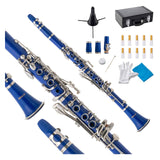 LAGRIMA B Flat Beginner Student Clarinet with 2 Barrels, Case, Stand,10 Reeds, Mouthpiece (Blue)