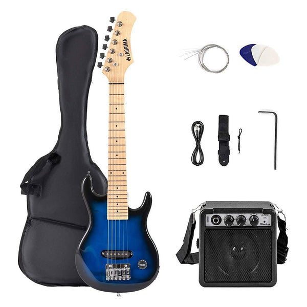 Lagrima Child 30 Inch Electric Guitar Starter Kit(30, Blue)
