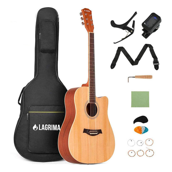 "LAGRIMA 41"" Beginner Acoustic Guitar Starter Kit, Cutaway Design Natural 6 Steel Strings Guitars(Brown)"