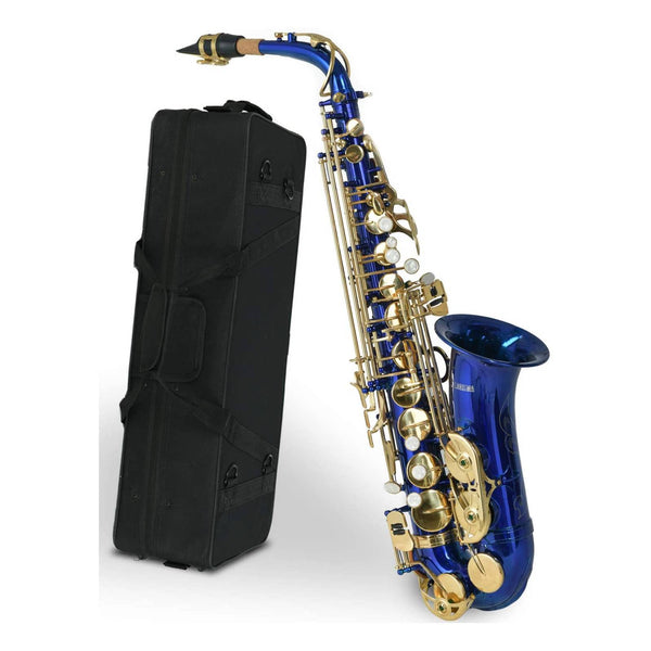 LAGRIMA Bb Alto Saxophone, Brass Body Mother-of-pearl Buttons (Blue)