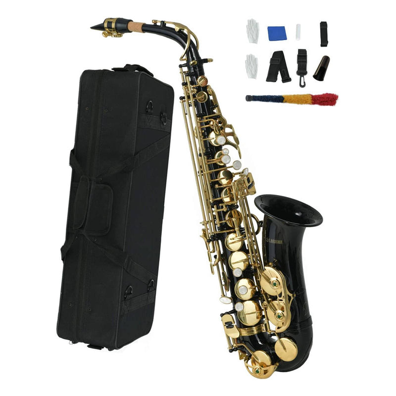 LAGRIMA Bb Alto Saxophone, Brass Body Mother-of-pearl Buttons (Black)