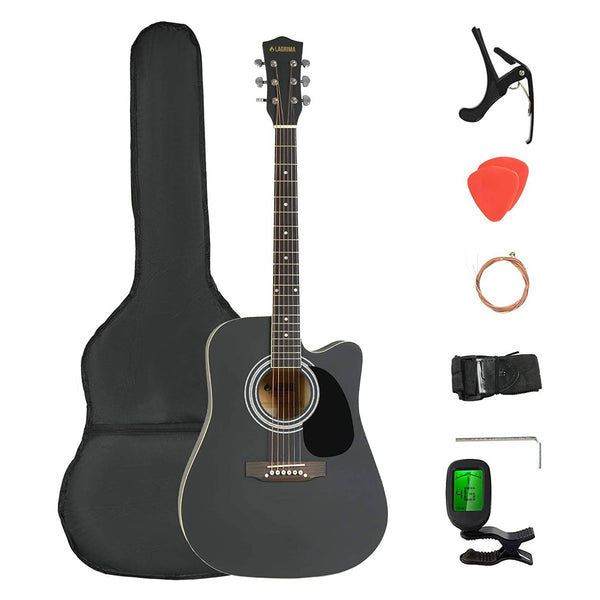 LAGRIMA LGA-400 Full Size 41 inch Handcrafted Beginner Acoustic Cutaway Guitar Set, Black