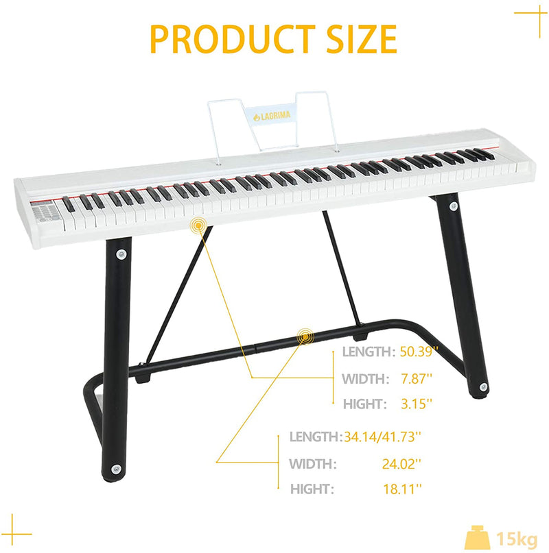 LAGRIMA LAG-610 Full Size Key Portable Digital Piano with U Stand,White