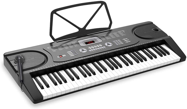 LAGRIMA LAG-300 61 Key Portable Electric Keyboard Piano with Built In Speakers, Digital Display Screen, Microphone, Dual Power Supply, Music Sheet Stand for Beginner (Kid & Adult) Black