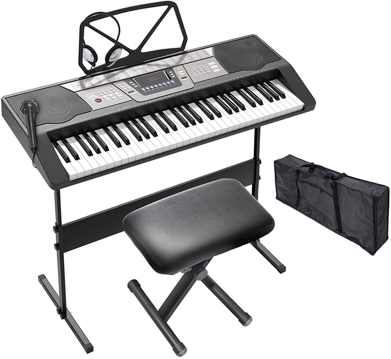 LAGRIMA LAG-440 61 Key Portable Electric Piano Keyboard w/Headphones, Adjustable H Stand and Stool, Bag, Music Stand, Micphone, Power Supply,Digital Display- Suit for Kids, Adults and Beginner