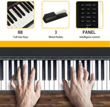 LAGRIMA LAG-600 Full Size Key Portable Digital Pianowith X Stand,Black