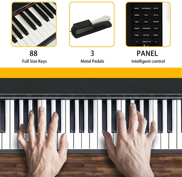 LAGRIMA LAG-600 Full Size Key Portable Digital Piano with U Stand,Black