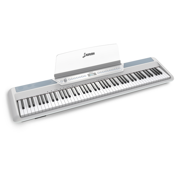 LAGRIMA LAG-570 Full Size Weighted Key Portable Digital Piano, 88 Key Electric Keyboard Piano for Beginner/Adults with Bluetooth, Headphone, Sustain Pedal, Power Supply, Music Stand, White(No Stand)